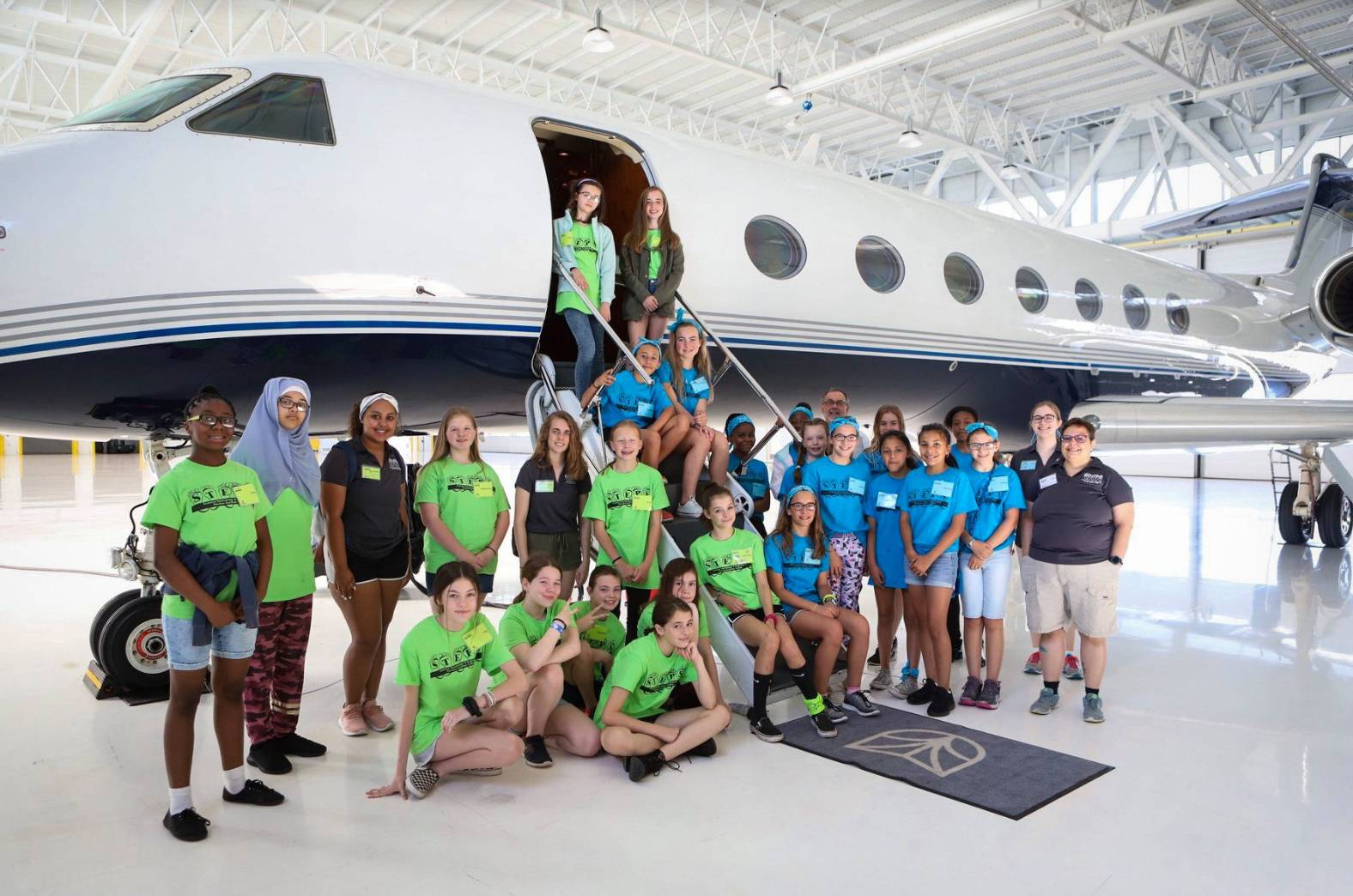 Students touring an aircraft